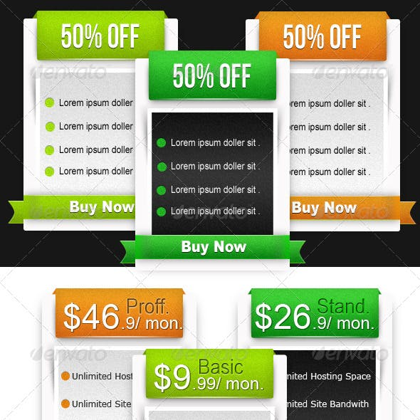 Web Pricing Table & Boxes