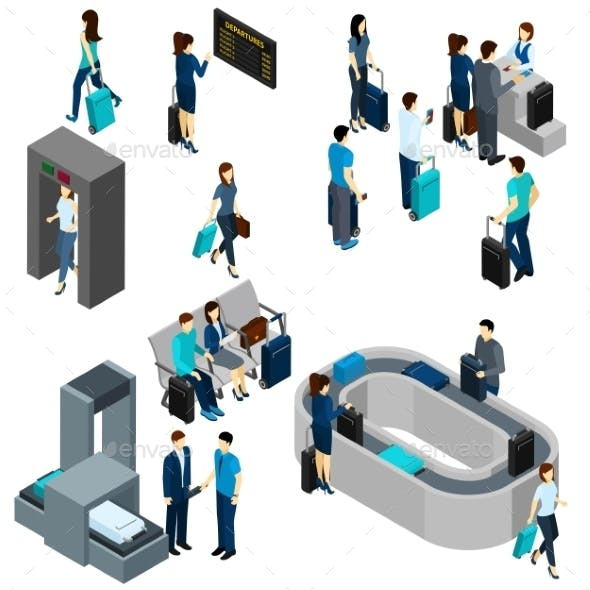 People in Airport Isometric
