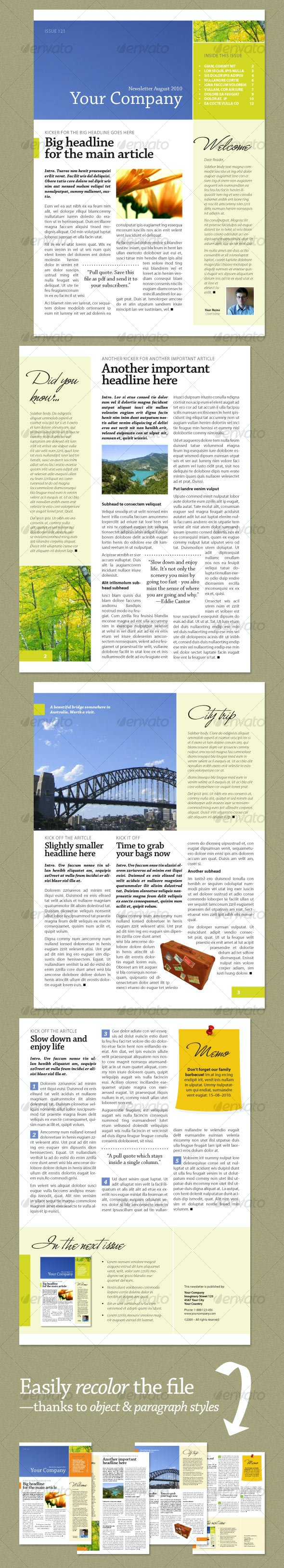 Newsletter Fresh Green (4 pages) - Newsletters Print Templates