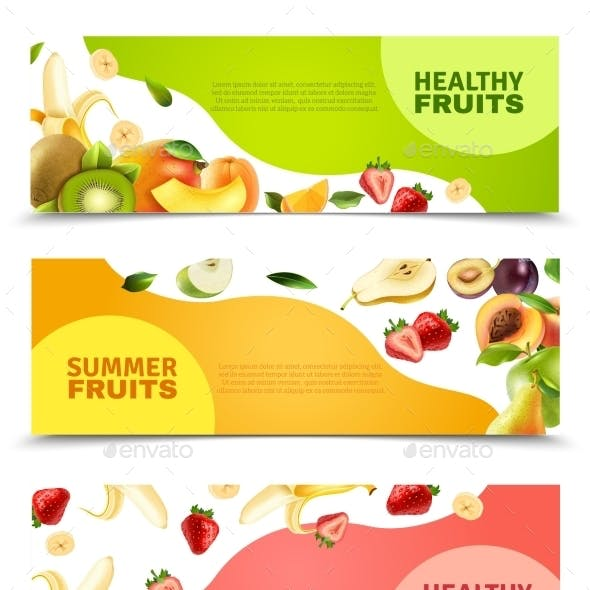 Fruits Colorful Flat Horizontal Banners Set