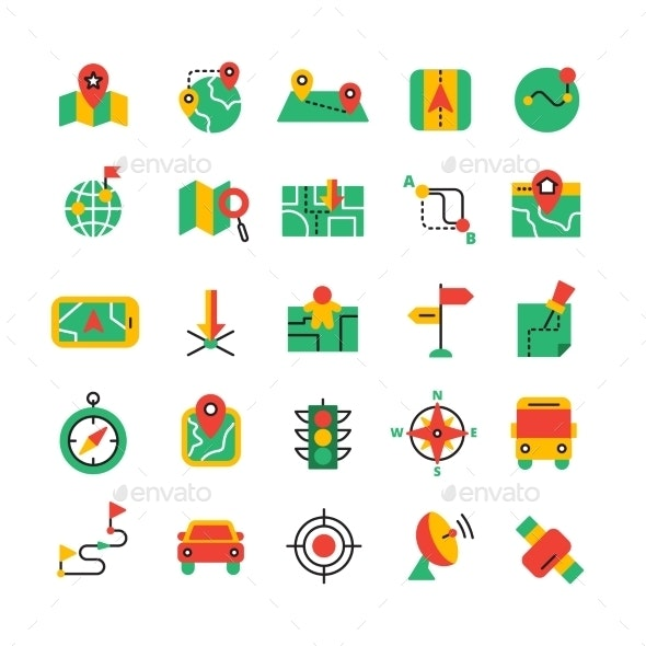 Color Navigation Icons Set - Technology Icons