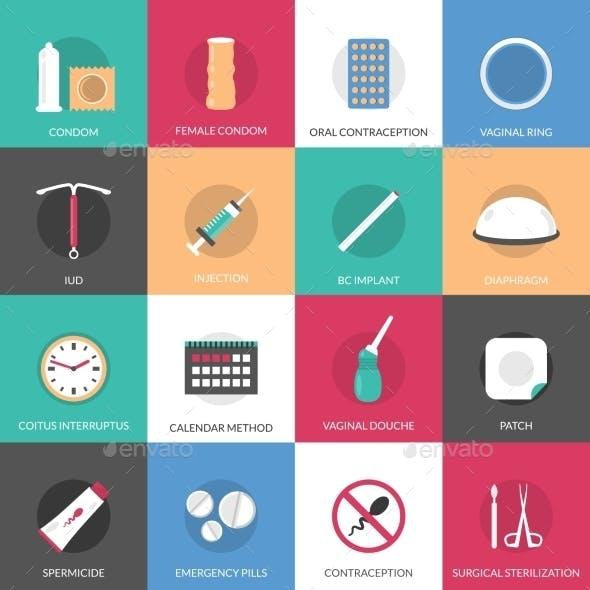 Contraception Methods Icons Set