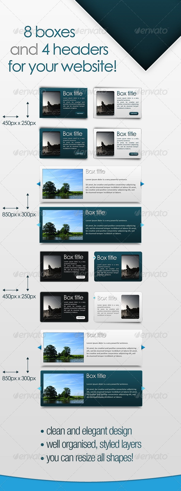 8 Modern Website Boxes and 4 Headers - Web Elements
