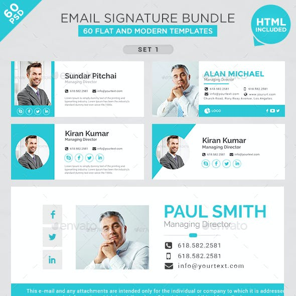 Email Signature Bundle - 60 PSD and 60 HTML Files