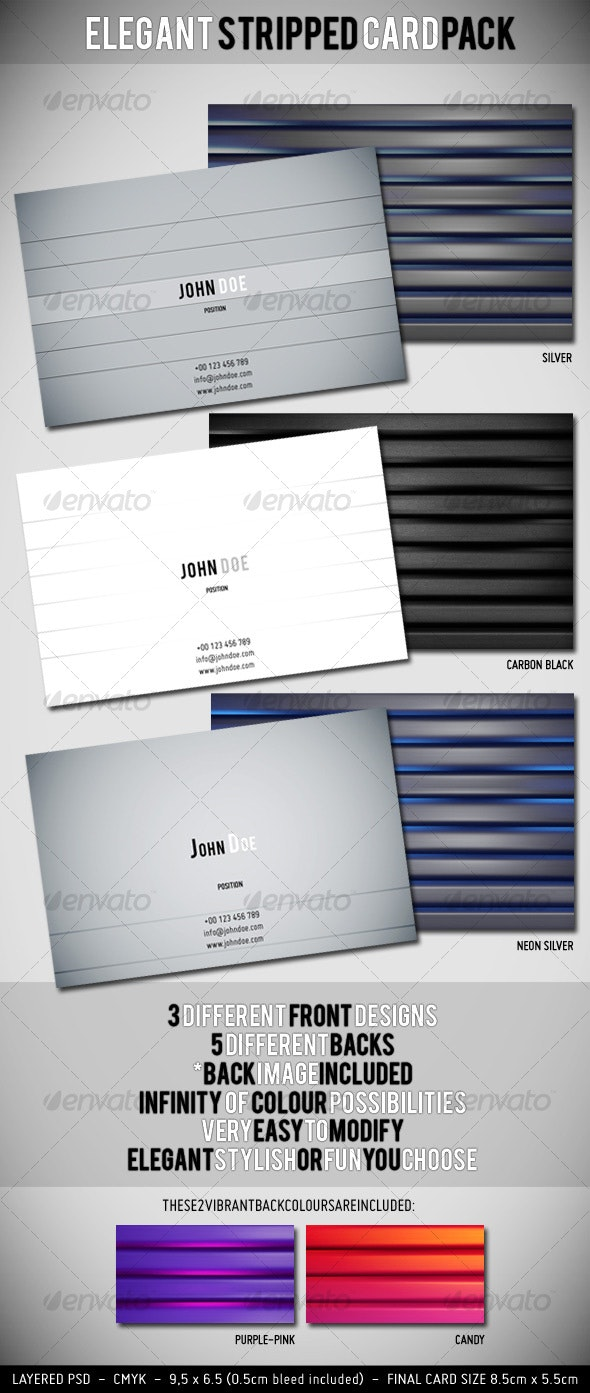 Elegant Stripped Card Pack x 5 - Creative Business Cards