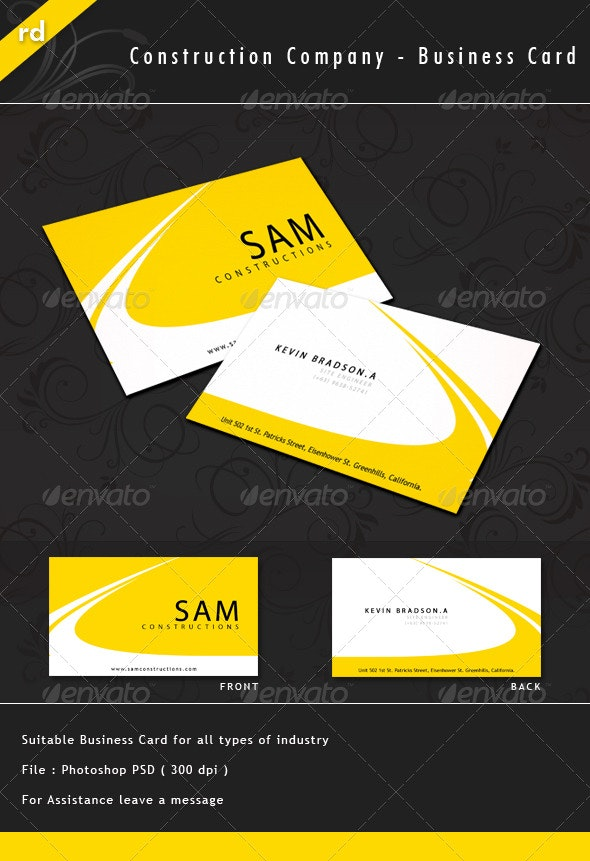 Construction Company Business Card By