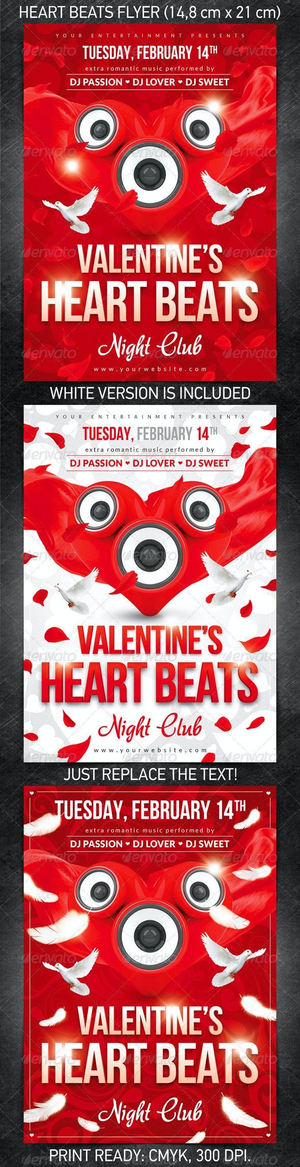 Heart Beats Flyer - Clubs & Parties Events