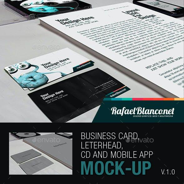 Business Card, Letterhead CD and App Mock-Up