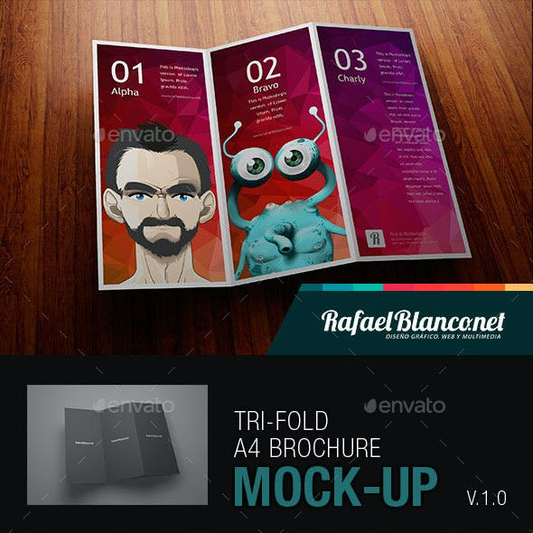 Tri-Fold A4 Brochure Mock-Up