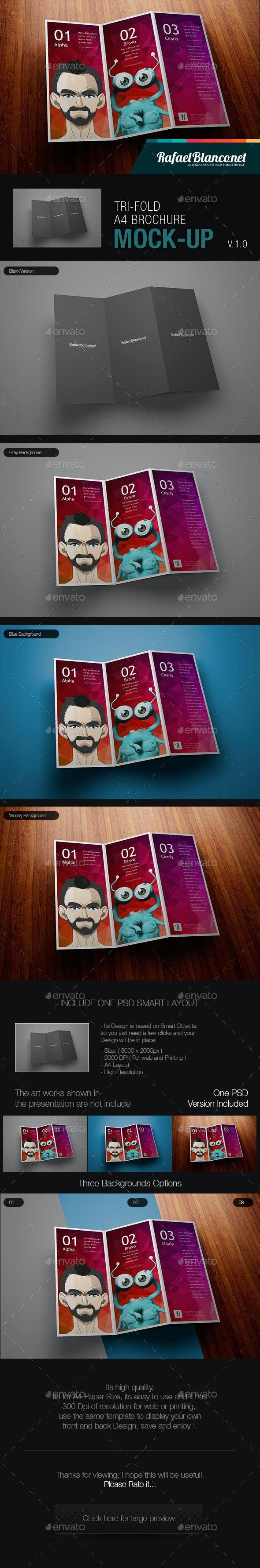 Tri-Fold A4 Brochure Mock-Up - Brochures Print