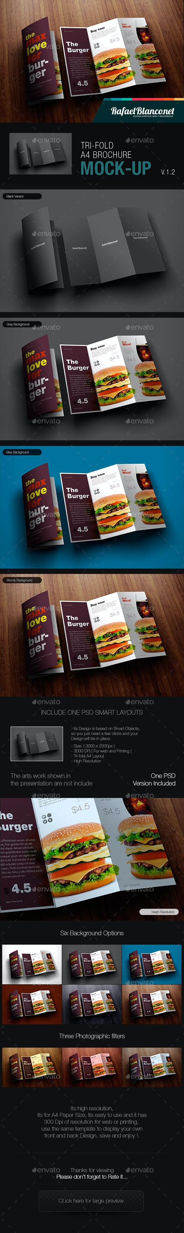 Tri-Fold A4 Brochure Mock-Up - Product Mock-Ups Graphics