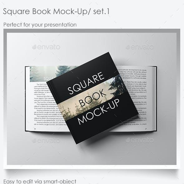 Square Book Mock-Up Set.1