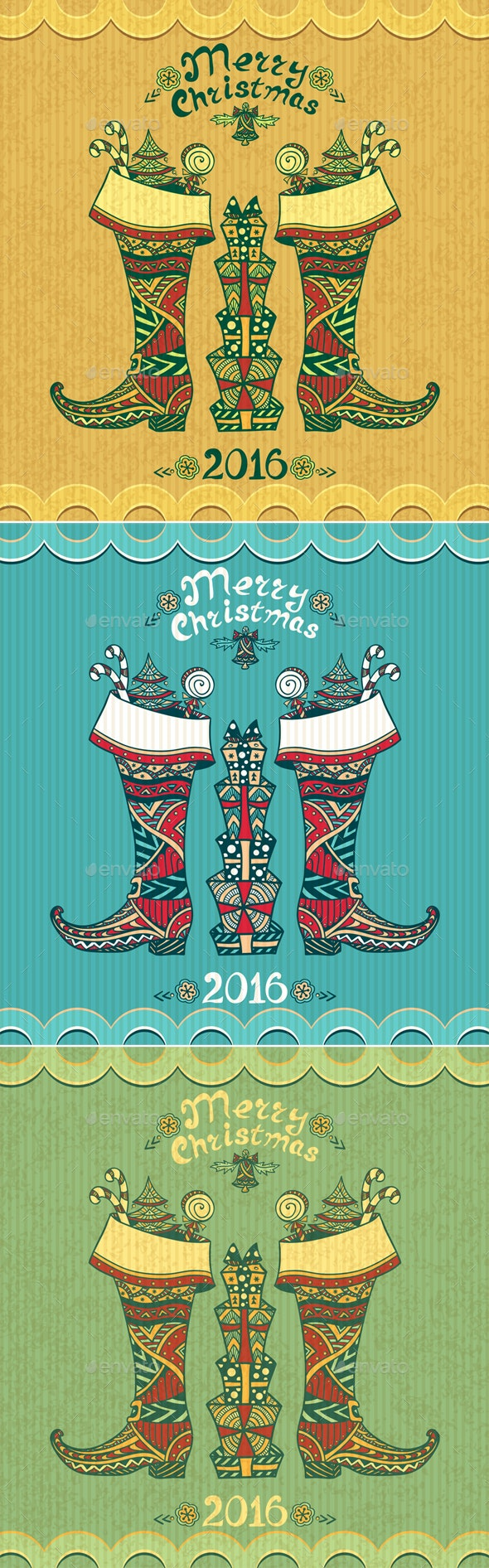 Christmas Boots with gifts  in Zen-doodle style - Seasons/Holidays Conceptual