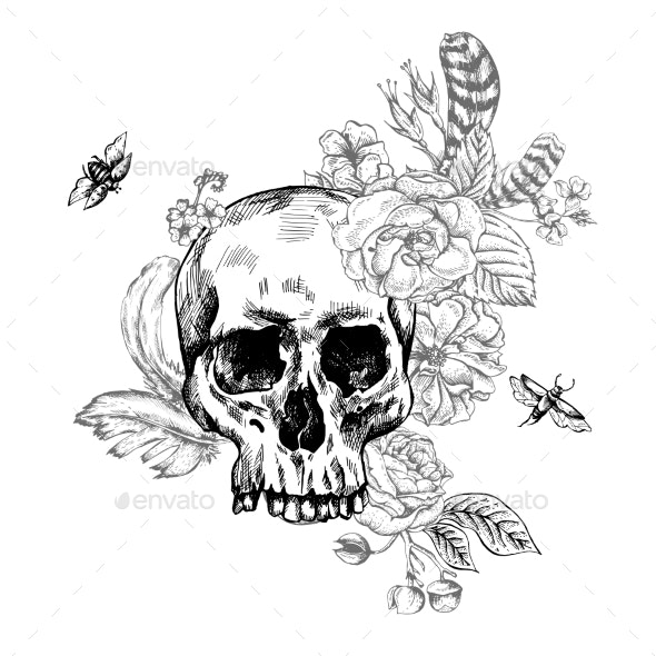 Skull, Flowers Day Of The Dead, Black And White