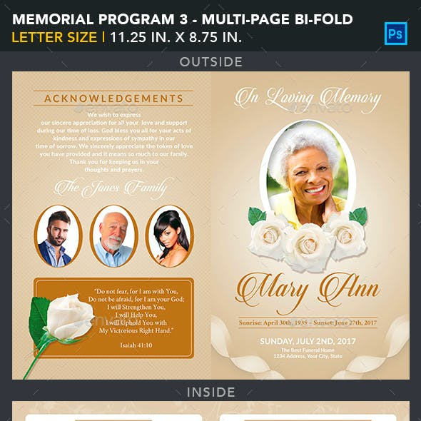 Memorial Program Template 3 - Multipage Bi-Fold