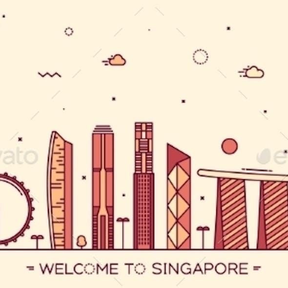 Skyline Singapore Vector Illustration Linear Style