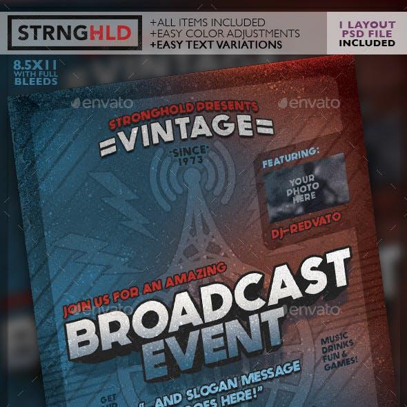 Vintage Radio Broadcast Event Flyer Template