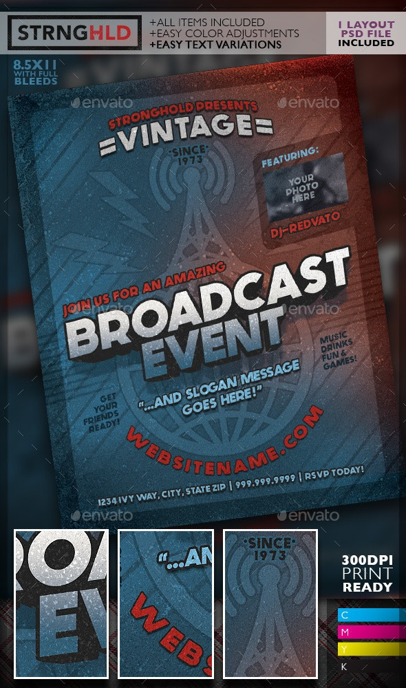 Vintage Radio Broadcast Event Flyer Template - Events Flyers