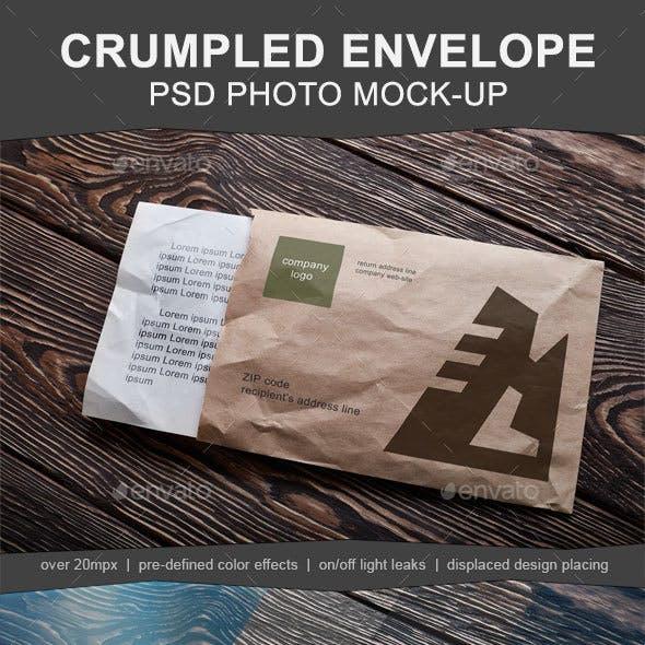 Opened Crumpled Envelope Mock-up