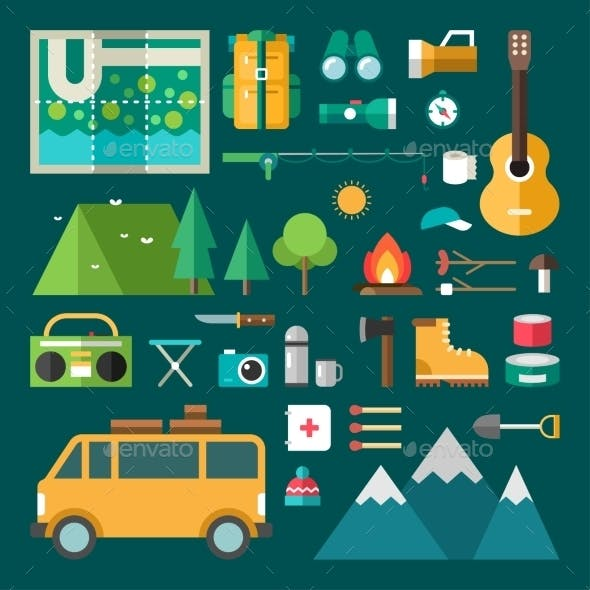 Tourist Equipment And Objects. Set Of Vector Icons