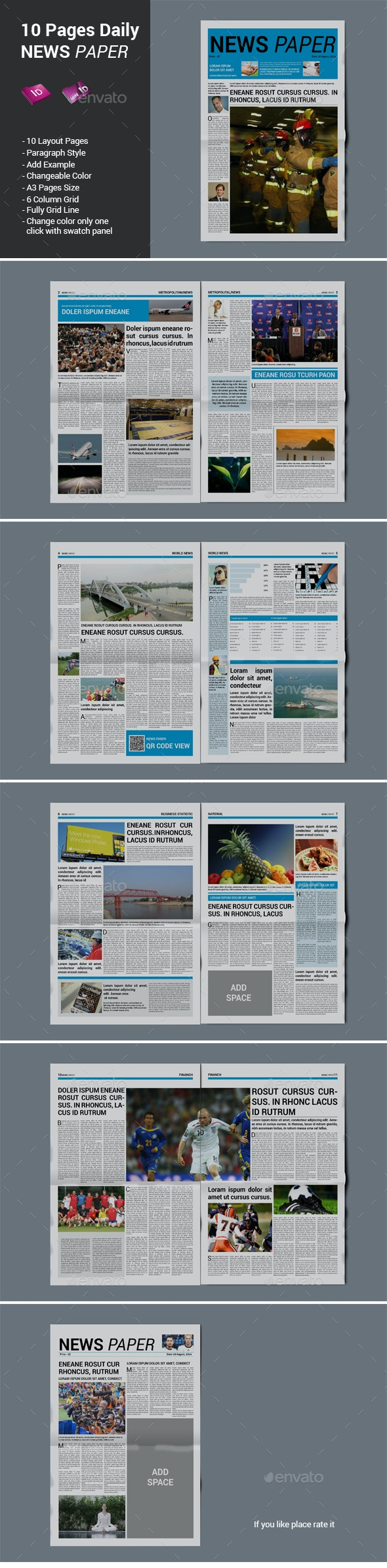 10 Pages Daily Newspaper - Newsletters Print Templates