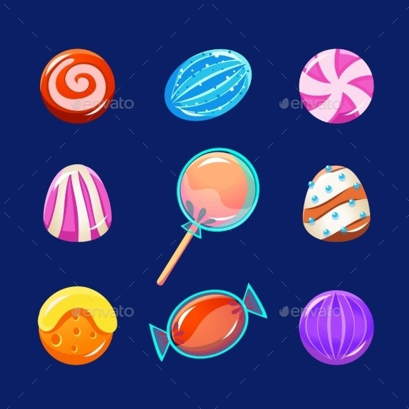 Colorful Glossy Candies With Sparkles. Vector