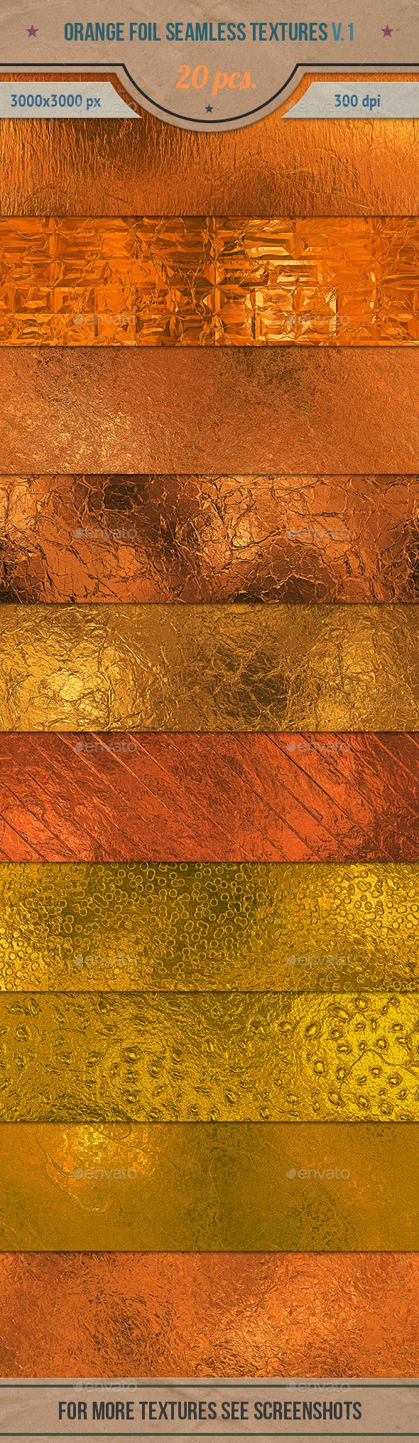 Orange Foil Tileable Textures Pack v.1 - Textures