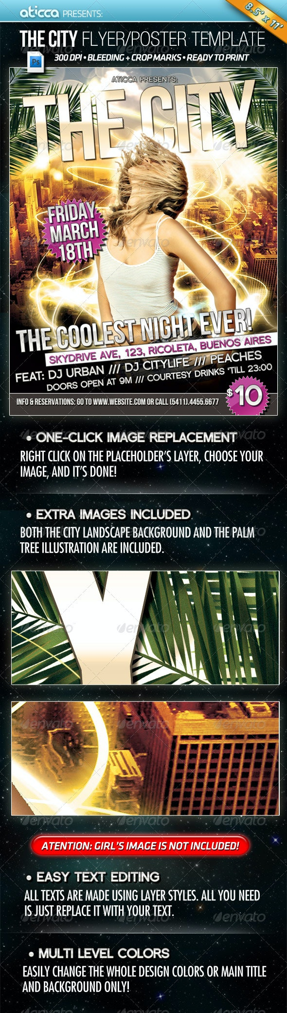 The City - Flyer and Poster Design - Clubs & Parties Events