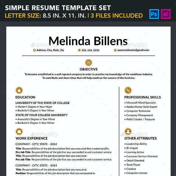 Simple Resume Template Set