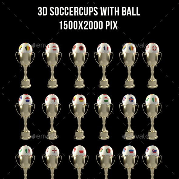 3D Cups With Soccer Ball Euro 2016
