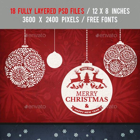 18 Christmas Backgrounds/Cards - Bundle Vol.1