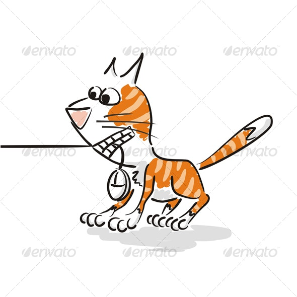 Red Cat with  Mouse in Teeth - Animals Characters