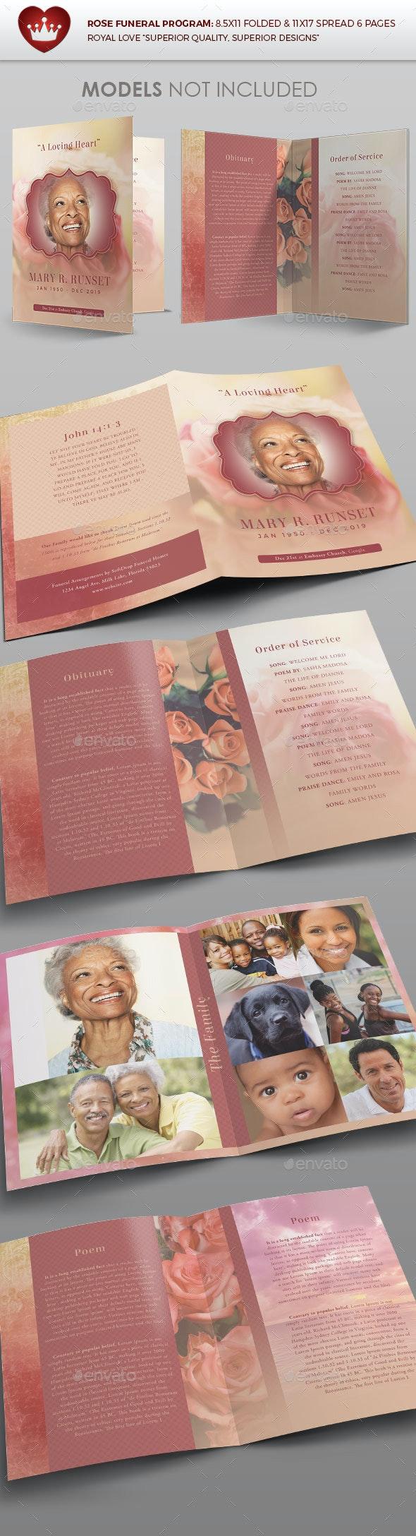 Rose Funeral Program Template - Brochures Print Templates