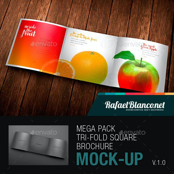 Mega Pack Tri-Fold Square Brochure Mock-up