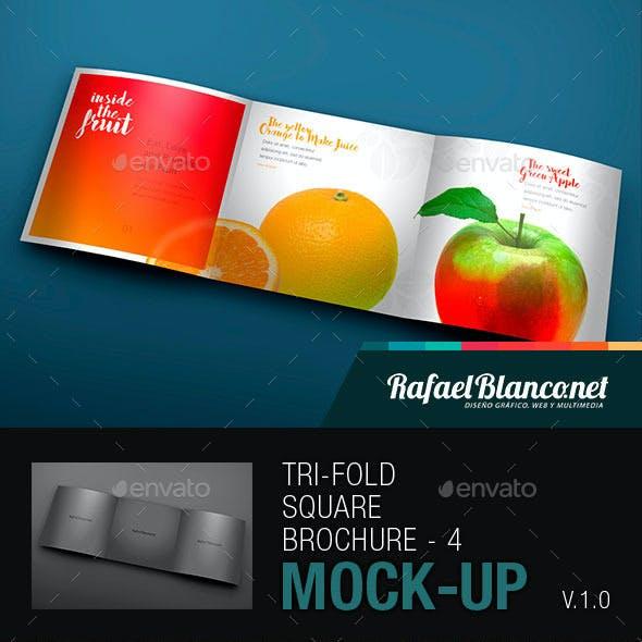 Tri-Fold Square Brochure Mock-up - 4