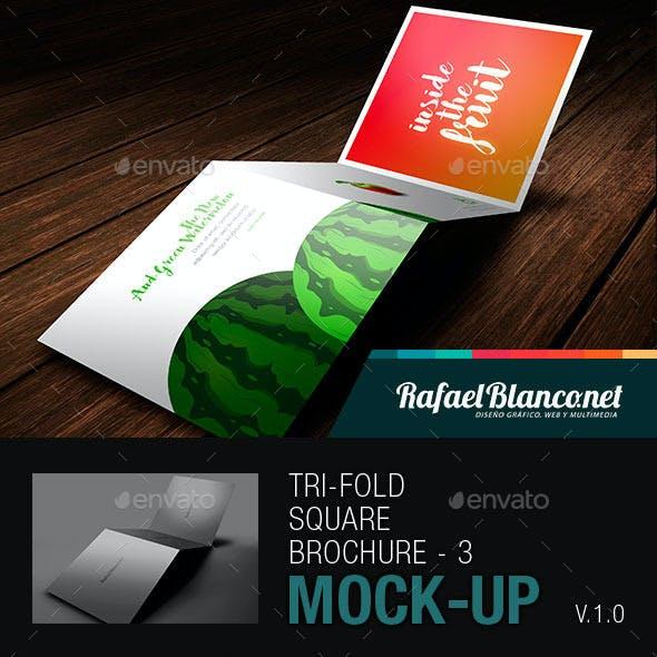 Tri-Fold Square Brochure Mock-up - 3