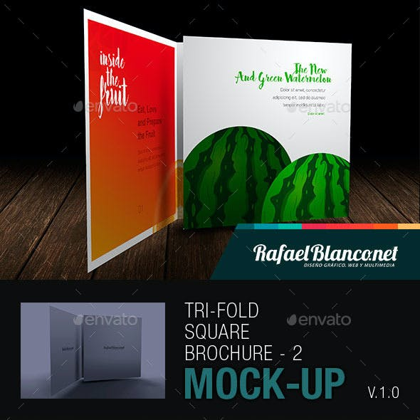 Tri-Fold Square Brochure Mock-up - 2
