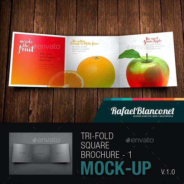 Tri-Fold Square Brochure Mock-up - 1