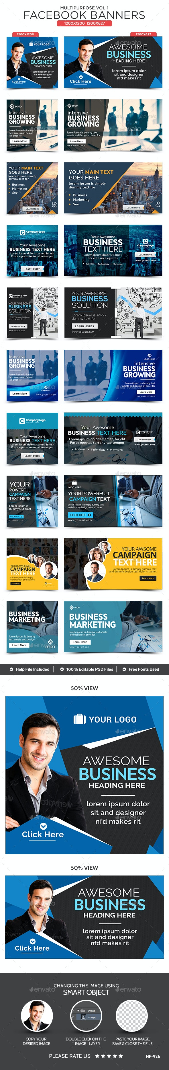 Multipurpose Facebook Banners - 10 Banners - Banners & Ads Web Elements
