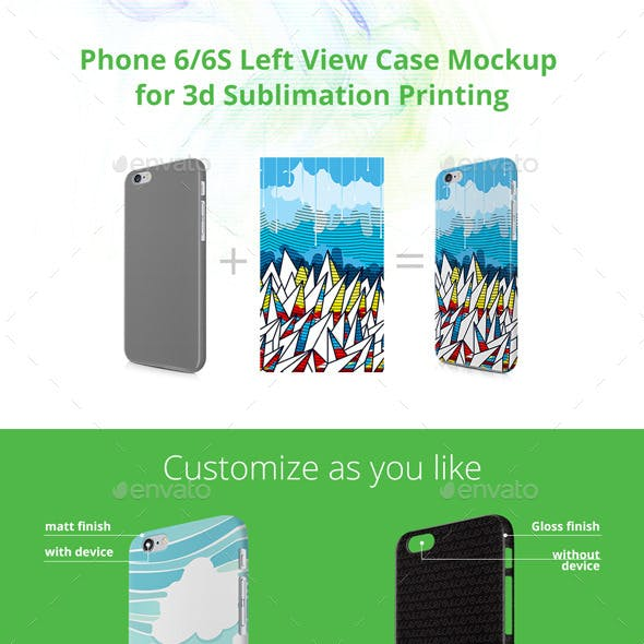 Phone 6/6S Case Design Mock-up for 3d Sublimation Printing - Left View