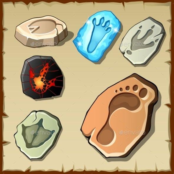 Set Of Prehistoric Prints On Stones