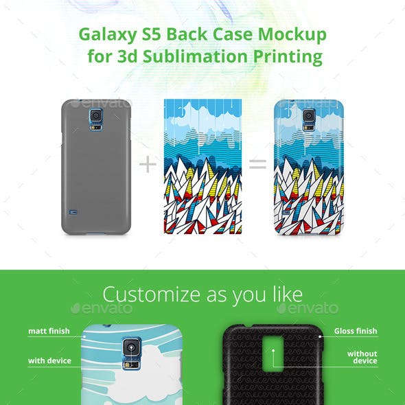 Galaxy S5 Case Design Mockup for 3d Sublimation Printing - Back View