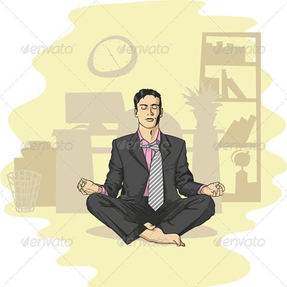 Vector Businessman in Lotus Pose