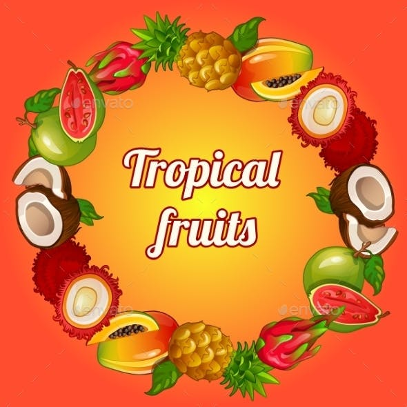 Wreath Of Tropical Fruits On Bright Background
