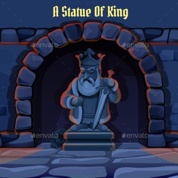 Ancient Stone Statue Of King In The Dungeon