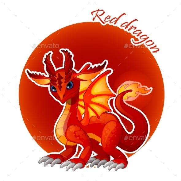Cartoon Red Dragon Closeup, Vector Illustration