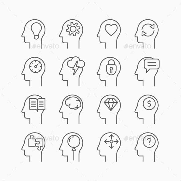 Human Mind Icons, Thin Line Style, Flat Design