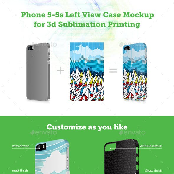 Phone 5-5s Case Design Mockup for 3d Sublimation Printing -Left View