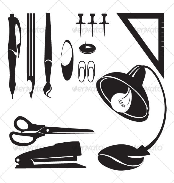 office set items vector 1  - Man-made Objects Objects