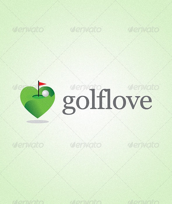 Green Golf Field Logo With Red Flag - Objects Logo Templates